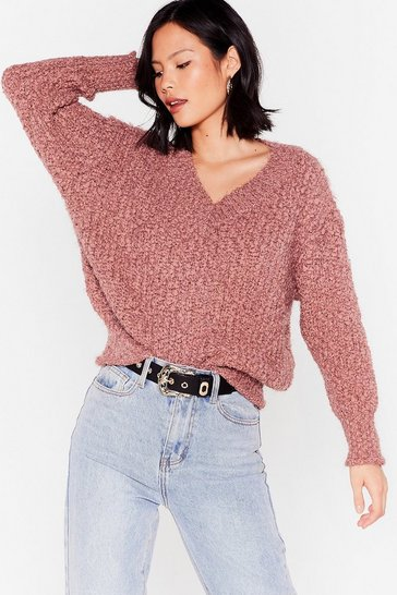 Womens Rose Knit Right In V-Neck Sweater