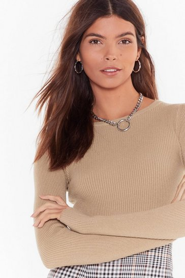 Beige This is Knit Ribbed Crop Top