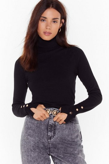 Black Knit That Beat Turtleneck Button Sweater
