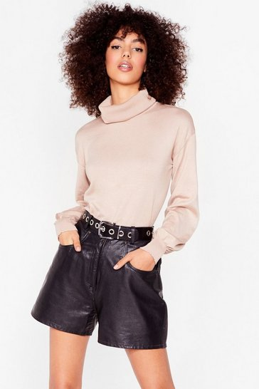 Beige Knitted Puff Sleeve Turtleneck Jumper