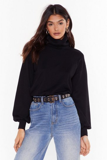 Black That's How We Roll Knit Turtleneck Sweater