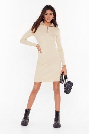 Womens Beige Zips Are Moving Ribbed Mini Dress