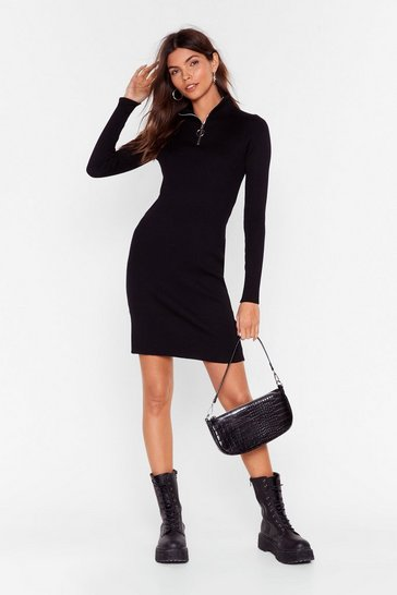 Womens Black Zips Are Moving Ribbed Mini Dress