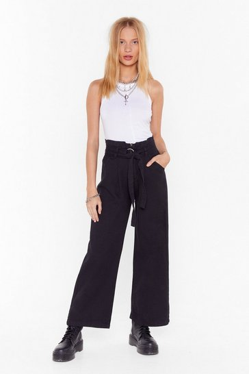 Womens Black Whole Wide World O-Ring Belted Pants