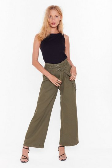 Womens Khaki Whole Wide World O-Ring Belted Pants