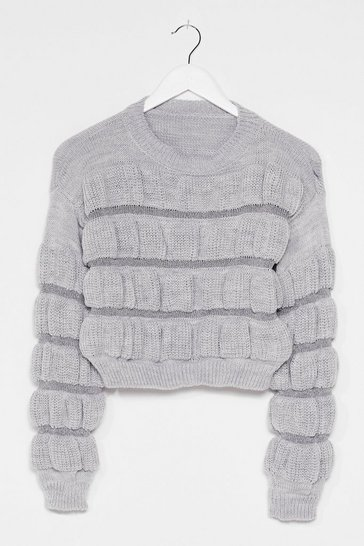Silver Tell Knit How Knit Is Metallic Sweater
