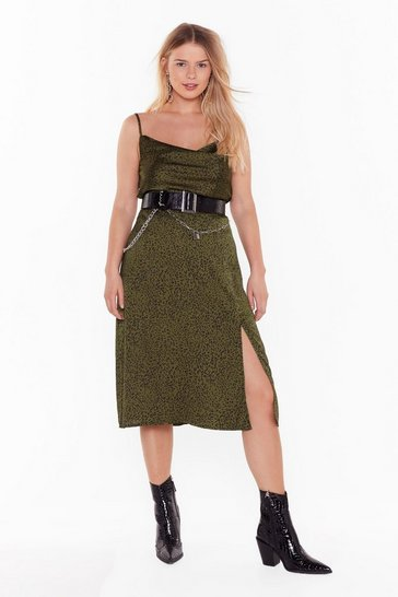 Womens Khaki Animal on the Dancefloor Plus Midi Skirt