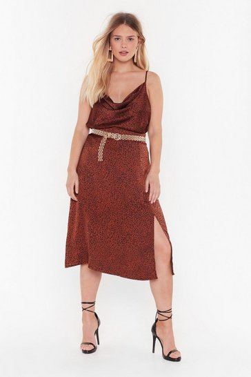 Womens Rust Animal on the Dancefloor Plus Midi Skirt
