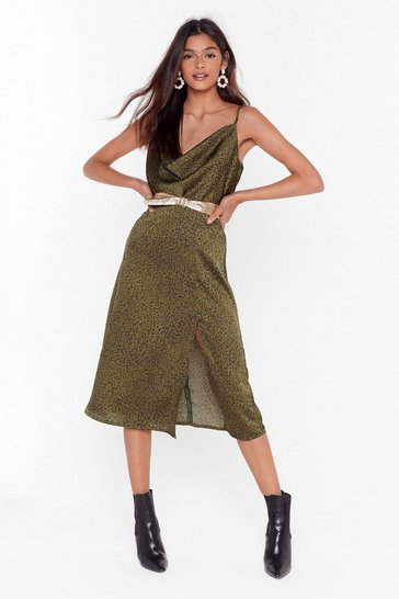 Womens Khaki Animal on the Dancefloor Satin Midi Skirt