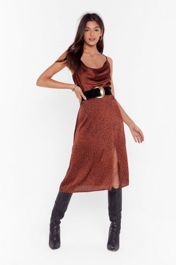 Rust Animal on the Dancefloor Satin Midi Skirt