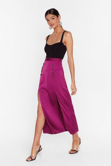 Womens Aubergine In a Split Second Button-Down Midi Skirt