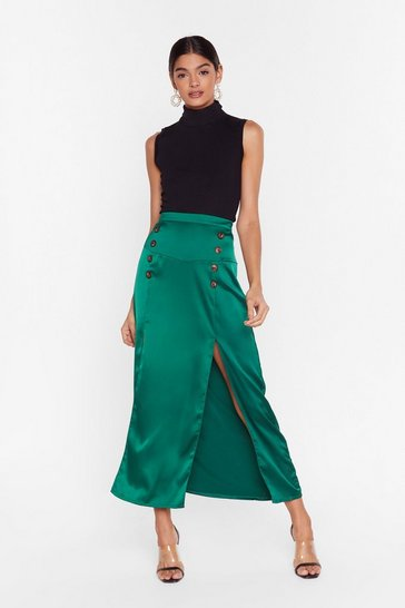 Green double split maxi skirt