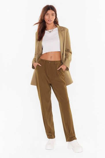Womens Camel Straight Into My Arms Tapered Button Pants