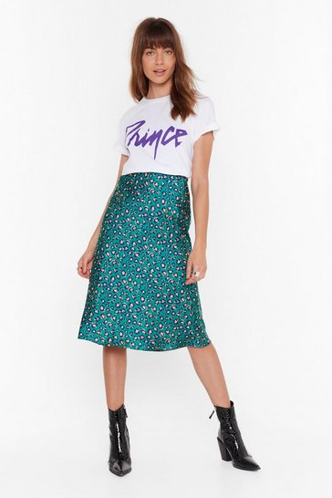 Womens Teal Come Down Leopard On 'Em Satin Midi Skirt