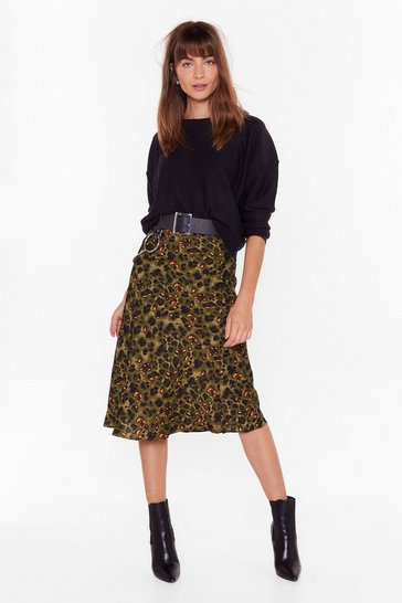 Womens Green Blame It On My Wild Heart Leopard Midi Skirt