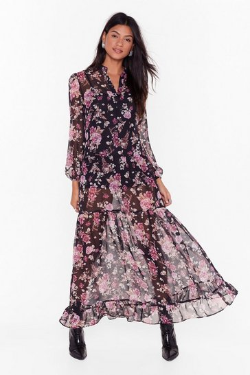 Womens Black Flower's Your Time Midi Dress