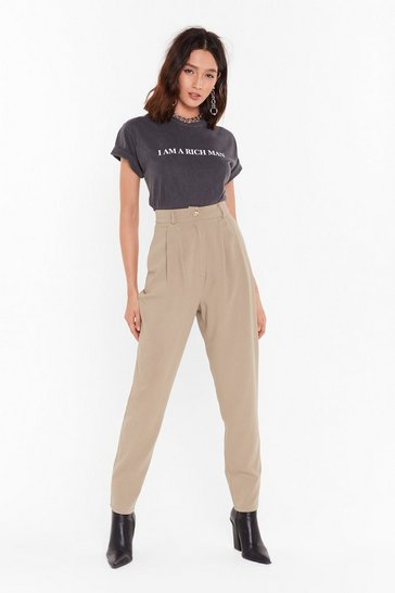 Camel Take the Pleat Off High-Waisted Tapered Pants