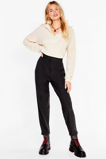 Womens Black That'll Suit You High-Waisted Tapered Pants