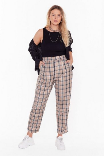 Womens Beige Grid Them What They Want Plus Plaid Jogger Pants
