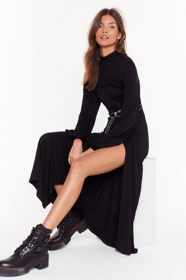 Black Skip to the Good Slit High Neck Maxi Dress