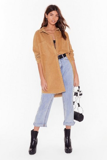 Stone Won't Be Longline Corduroy Oversized Shirt