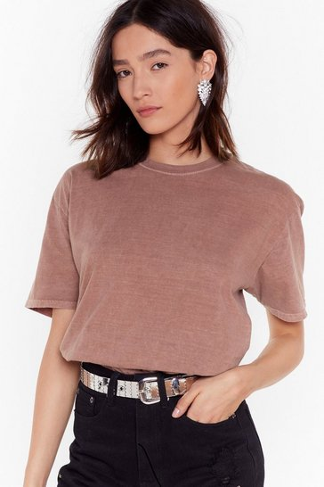 Womens Rust Wash Us Go Crew Neck Tee