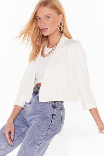 Cream This Means Business Cropped Tailored Blazer