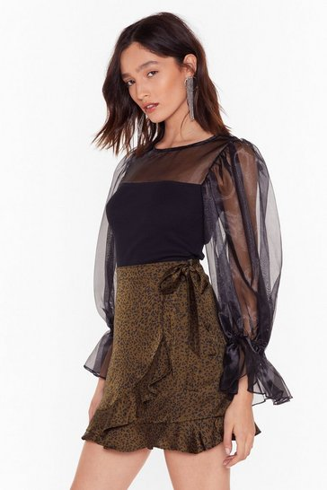 Black We Are Sheer for It Organza Balloon Sleeve Top