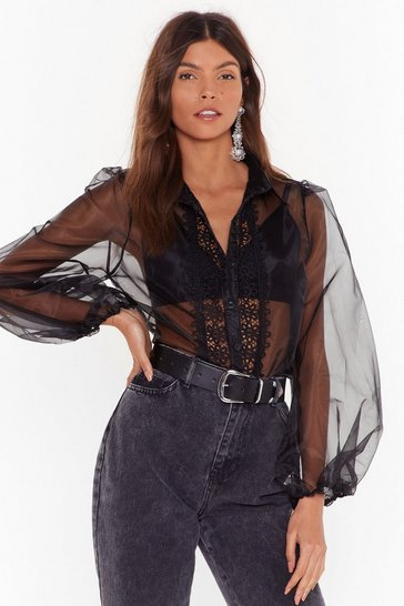 Womens Black Sheers to You and Me Organza Lace Blouse