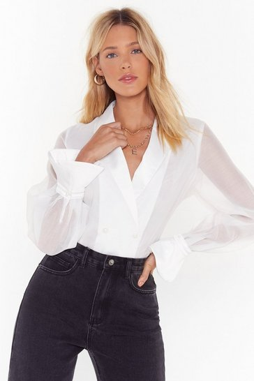 Womens White Who Needs Lapels Satin Cropped Shirt