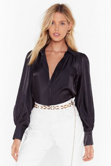 Womens Black The Big Picture Satin Balloon Sleeve Shirt