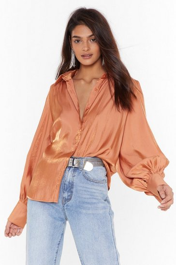 Rust The Big Picture Satin Balloon Sleeve Shirt