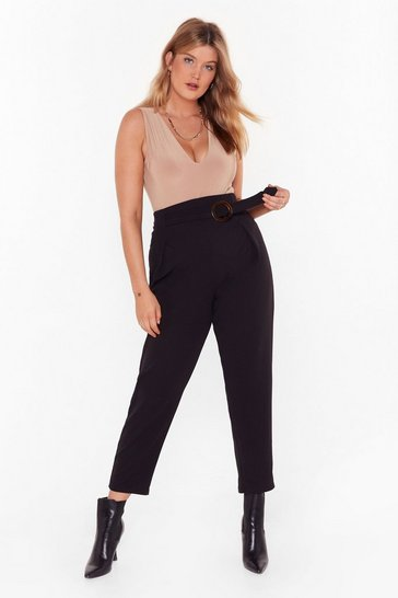 Black All Good Rings Tapered Belted Pants