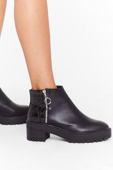 Black Our Zips Are Sealed Croc Cleated Boots