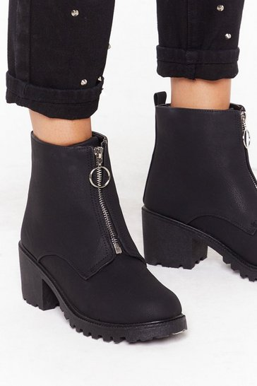 Womens Black Zip front pu cleated heel biker boot