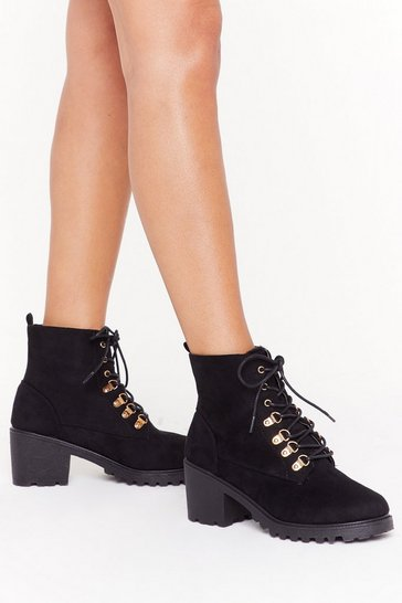 Womens Black Immi suede D ring hiker boots