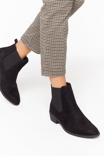Womens Black Immi suede almond toe chelsea boots