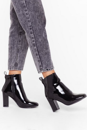 We Don't Take Sides Faux Leather Heeled Boots, Black