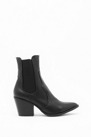 Womens Black Turning Point Faux Leather Chelsea Boot