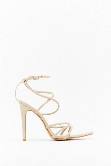 Nude Strappy Together Faux Leather Heels