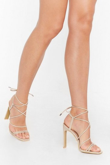 Womens Nude Square toe strappy heels