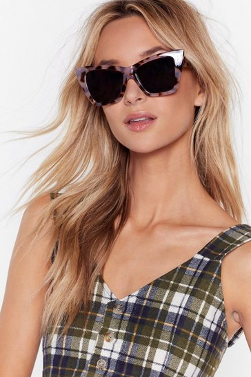 Womens Brown The Tort of You Oversized Cat-Eye Sunglasses