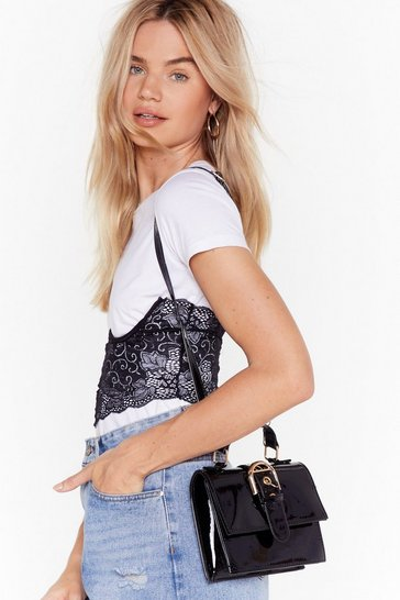 Womens Black WANT You're Outta Buck-le Patent Bag