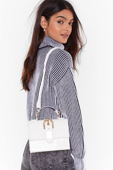 Womens White WANT You're Outta Buck-le Patent Bag