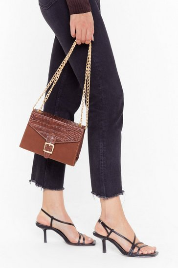 Womens Chocolate Pu  croc buckle fastening grab bag crossbody