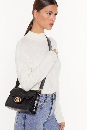 Black Pu croc double circle crossbody bag