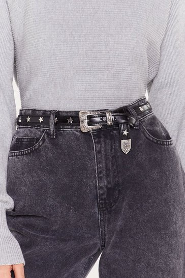 Womens Black Pu western star studded belt