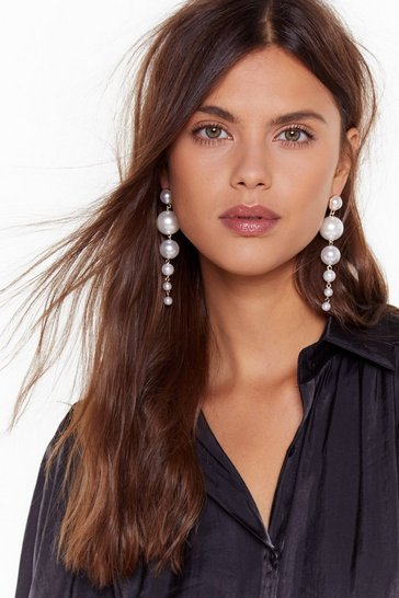 Womens White Pearl Talk Drop Earrings