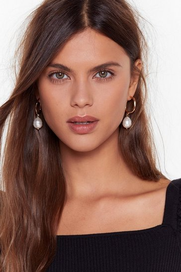 Womens Gold Bad Pearls Club Drop Hoop Earrings