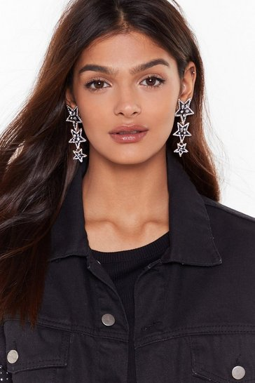 Womens Black Star of the Show Embellished Drop Earrings